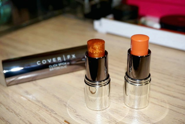 Cover FX Customizable Click Stick: Orange Corrector Stick and Candlelight Enhance Stick