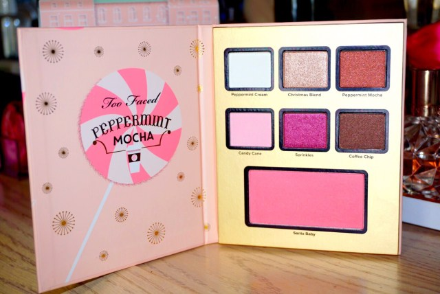 Too Faced Grand Hotel Cafe Peppermint Mocha Palette Swatches on Dark Skin