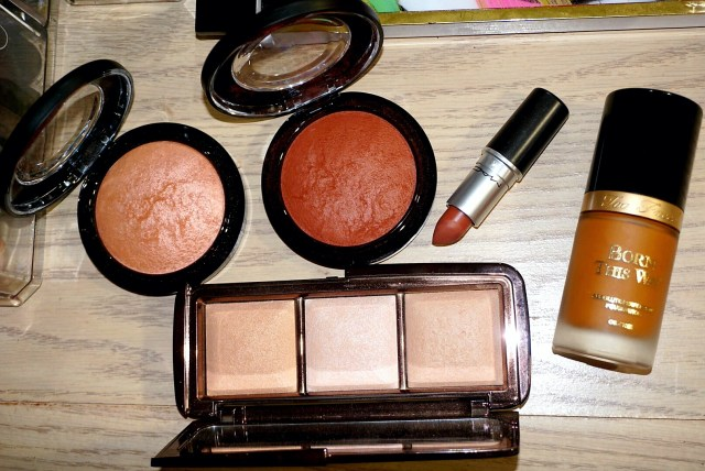MAC Highlight the Truth Mineralize Skinfinish, MAC Taraji Glow Mineralize Skinfinish, MAC Strip Me Down, Too Faced Born This Way Foundation in Mahogany, Hourglass Ambient Lighting Palette