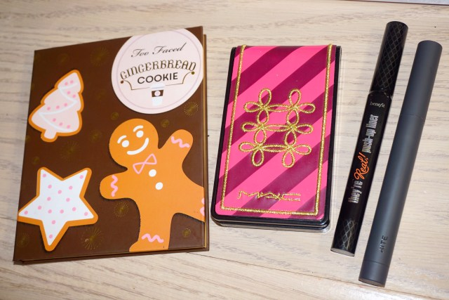 Too Faced Gingerbread Cookie Palette, MAC Nutcracker Sweet Copper Face Compact, Benefit They're Real Push Up Liner, Bite Beauty Cava Creme Matte Lip Crayon