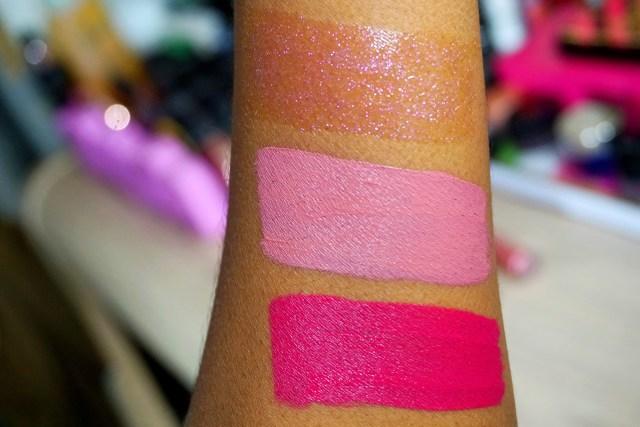 ColourPop x Hello Kitty Collection Swatches on Dark Skin Supercute Ultra Glossy Lip, Tiny Chum Ultra Satin Lip, Lock Diary Ultra Matte Lip