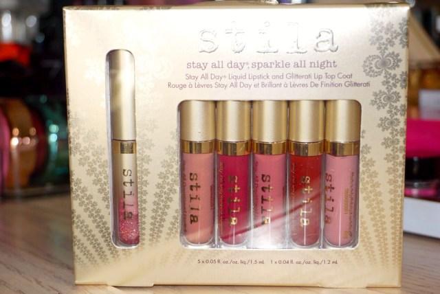 Stila Stay All Day Sparkle All Night Liquid Lipstick Set Swatches on Dark Skin