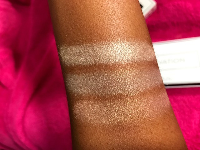 PUR Cosmetics Elevation Perfecting Highlighter Palette Swatches on Dark Skin