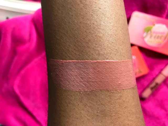 Too Faced Sweet Peach Creamy Peach Oil Lip Gloss in Papa Don't Peach Swatches on Dark Skin