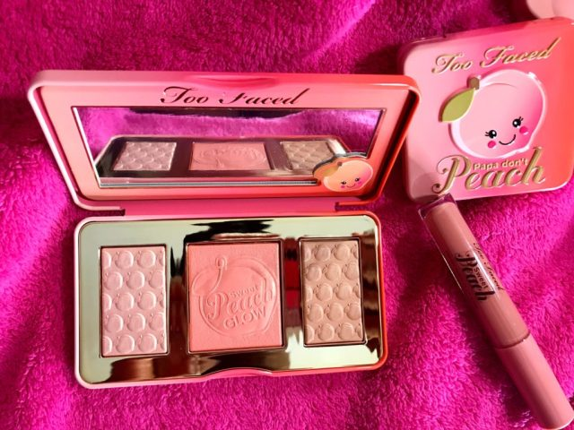 Too Faced Sweet Peach Glow Highlighting Palette Swatches on Dark Skin
