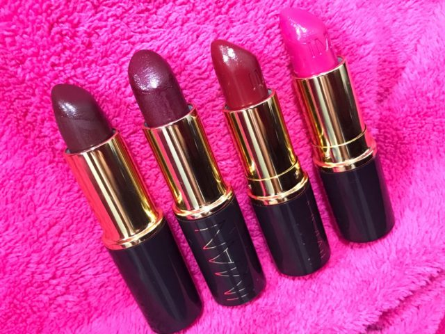 Iman Luxury Moisturizing Lipsticks Flirtatious, Black Brandy, Wild Thing, Opal Swatches on Dark Skin