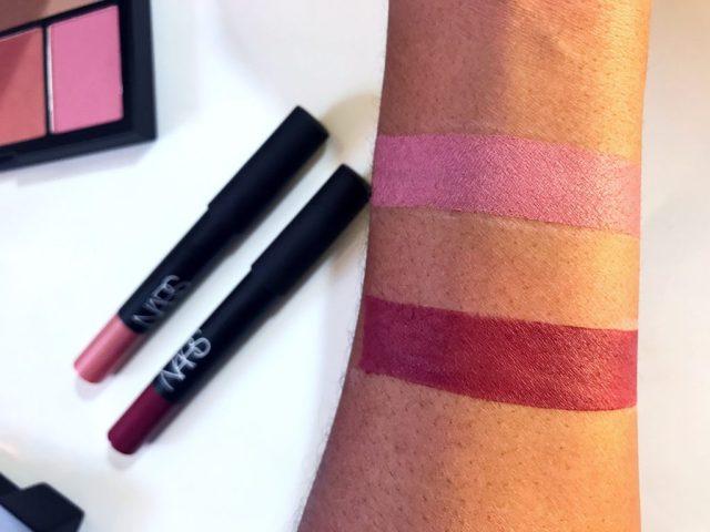 NARS Sex Machine and Damned Velvet Matte Lipstick Swatches on Dark Skin
