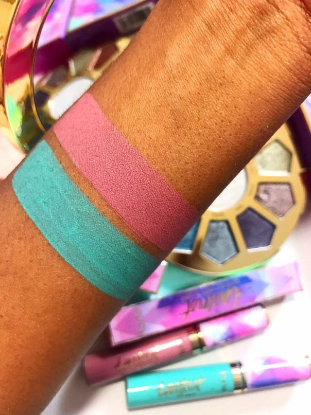 Tarte Make Believe In Yourself Fairy Tale and Festival Quick Dry Matte Lip Paint Swatches on Dark Skin