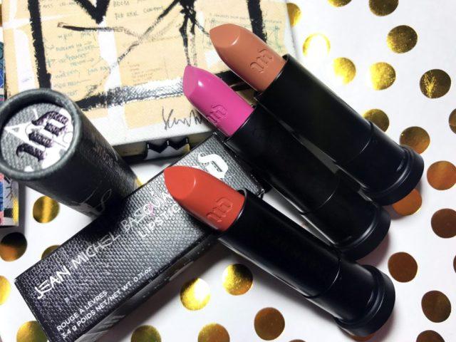 Urban Decay x Jean-Michael Basquiat Collection Abstract Lipstick, Epigram Lipstick, Exhibition Lipstick Swatches on Dark Skin