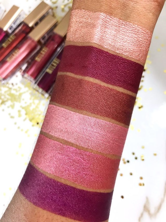 Milani Amore Metallic Lip Creme in 01 Chromatic Addict, 10 Pretty Problematic, 11 Making Me Matte, 12 Prismatic Touch, 13 Overdramatic, 15 The Ultimate Swatches on Dark Skin