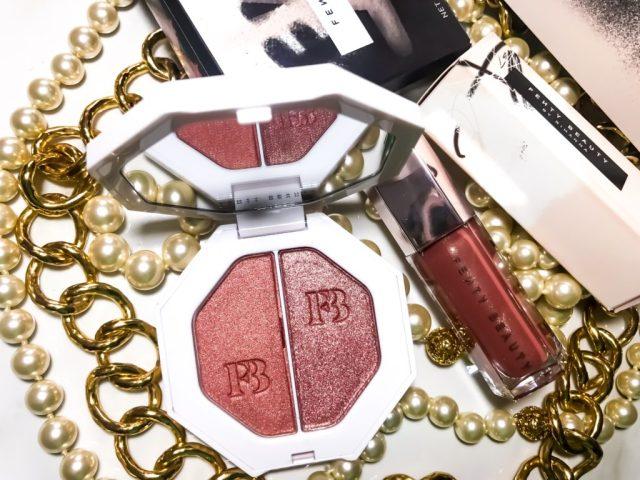 Fenty Beauty by Rihanna Kilowatt Freestyle Highlighter in Ginger Binge/Moscow Mule Swatches on Dark Skin