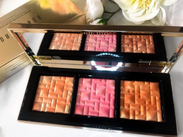 Bobbi Brown Bobbi to Glow Highlighting Powder Trio Swatches Review Dark Skin