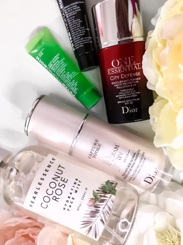 Best Skincare of 2017: Pearlessence Coconut Rose Hydrating Face Mist, Dior Capture Totale DreamSkin Perfect Skin Creator, Peter Thomas Roth Cucumber Gel Mask, Peter Thomas Roth Irish Moor Mud Mask, Dior One Essential City Defense