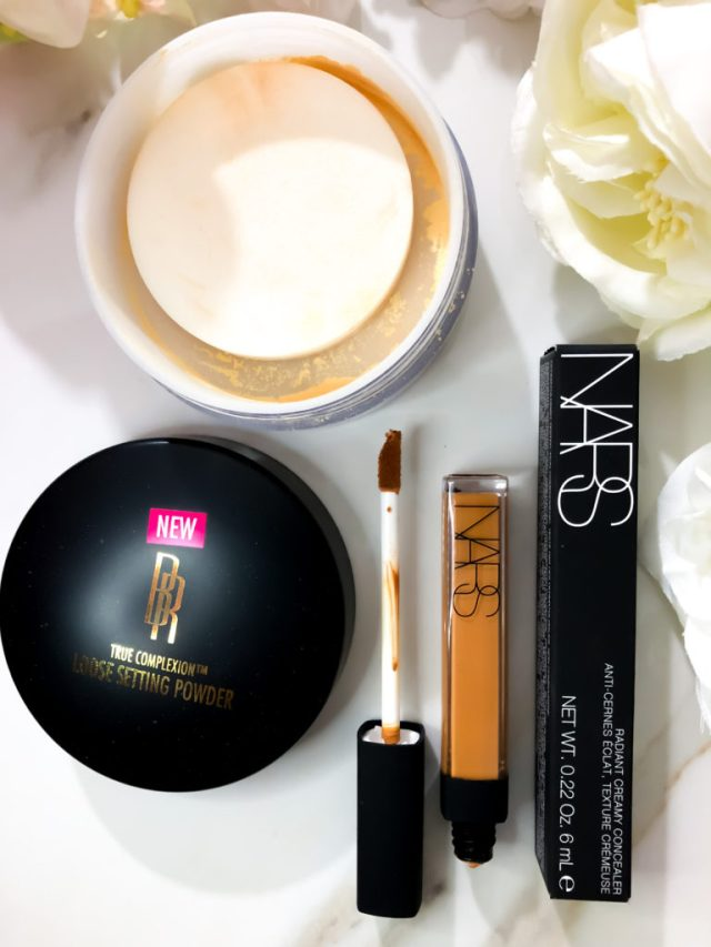 How to Bright Eyes: Black Radiance True Complexion Loose Setting Powder Banana, NARS Walnut Radiant Creamy Concealer