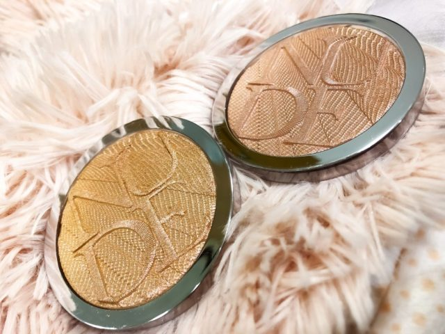 Dior Glow Addict Spring 2018 Collection Nude Air Luminizer 001 Holo Pink, 002 Holo Gold Swatches on Dark Skin,