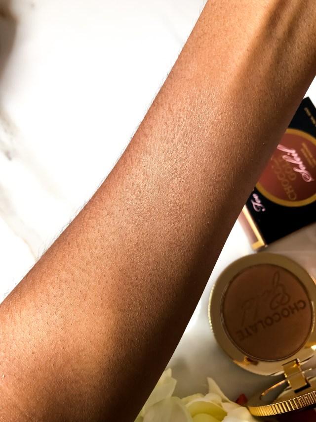 Too Faced Chocolate Gold Soleil Bronzer Swatches on Dark Skin
