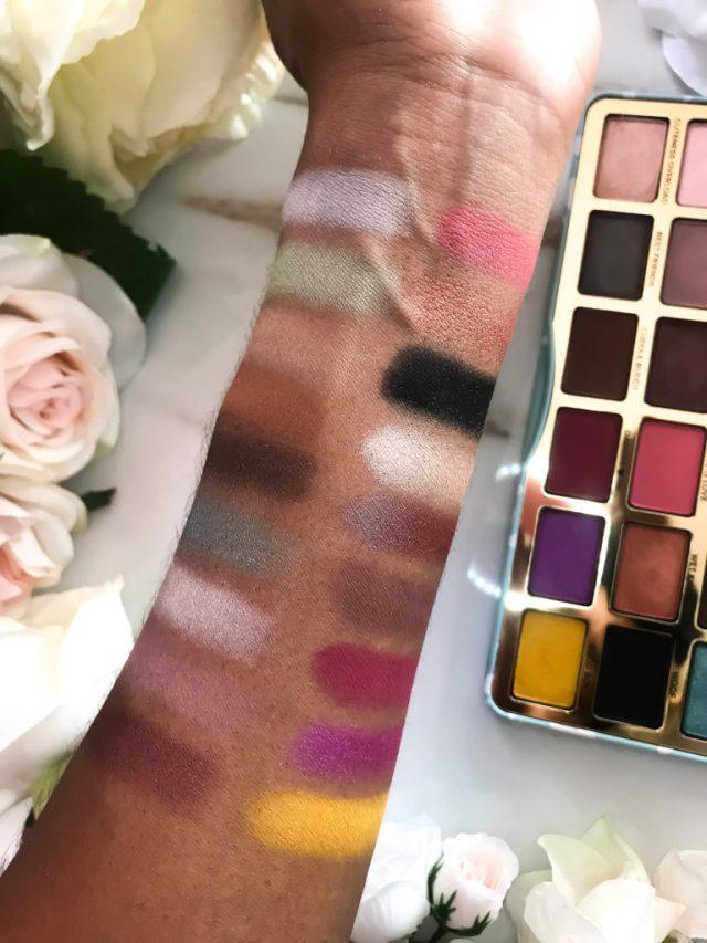 Too Faced Clover Eyeshadow Palette Swatches on Dark Skin