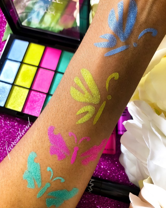 NYX Ultimate Multi-Finish Shadow Palette in Electric Swatches Review on Dark Skin