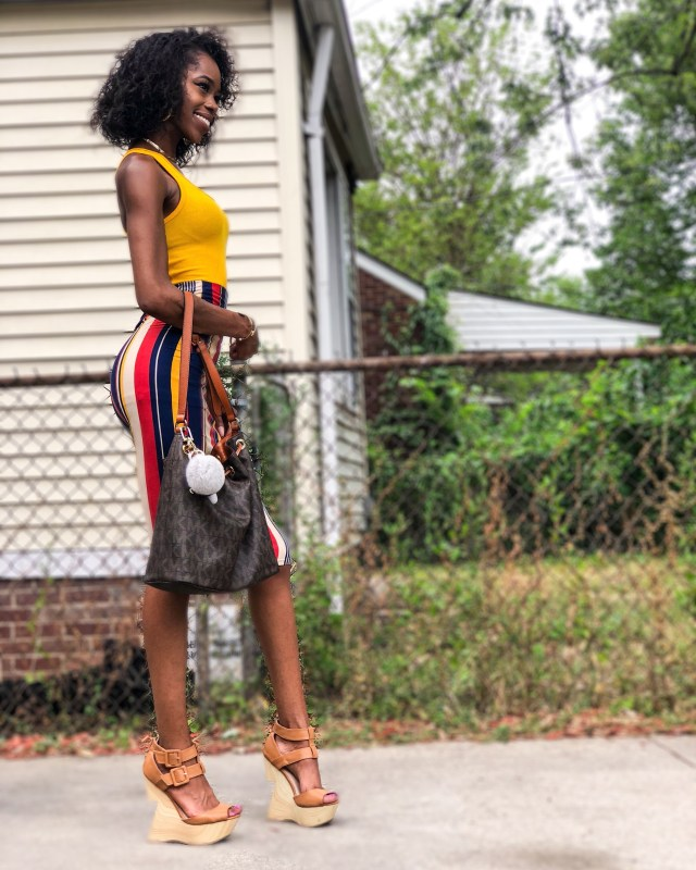 Rainbow Shops Yellow Stripe Skirt Outfit of the Day