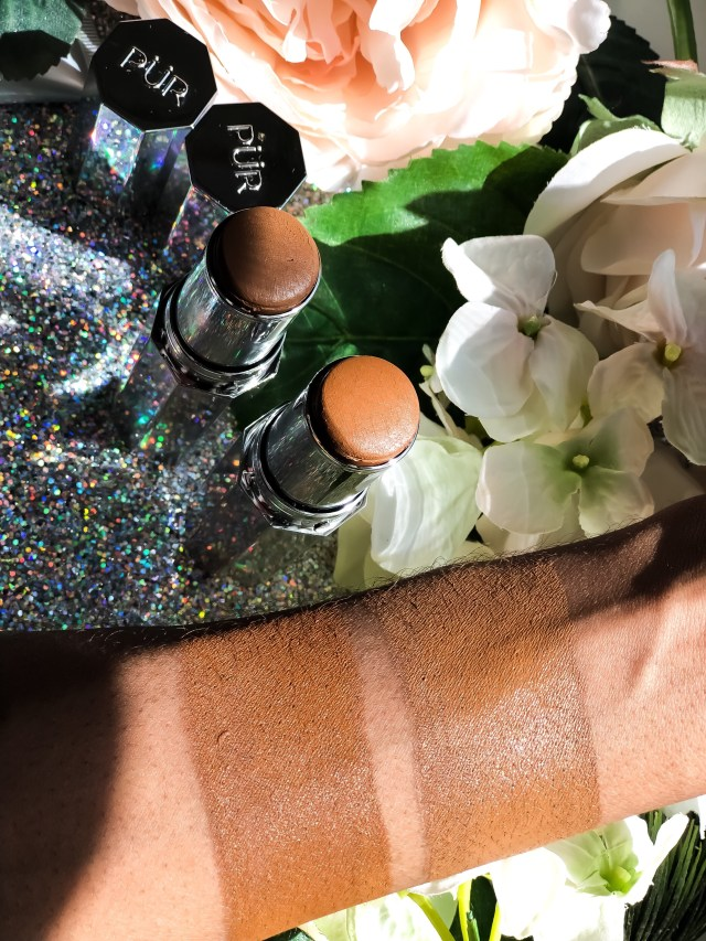 Pur Cosmetics 4-in-1 Foundation Stick in Deep and Deeper Swatches on Dark Skin Review