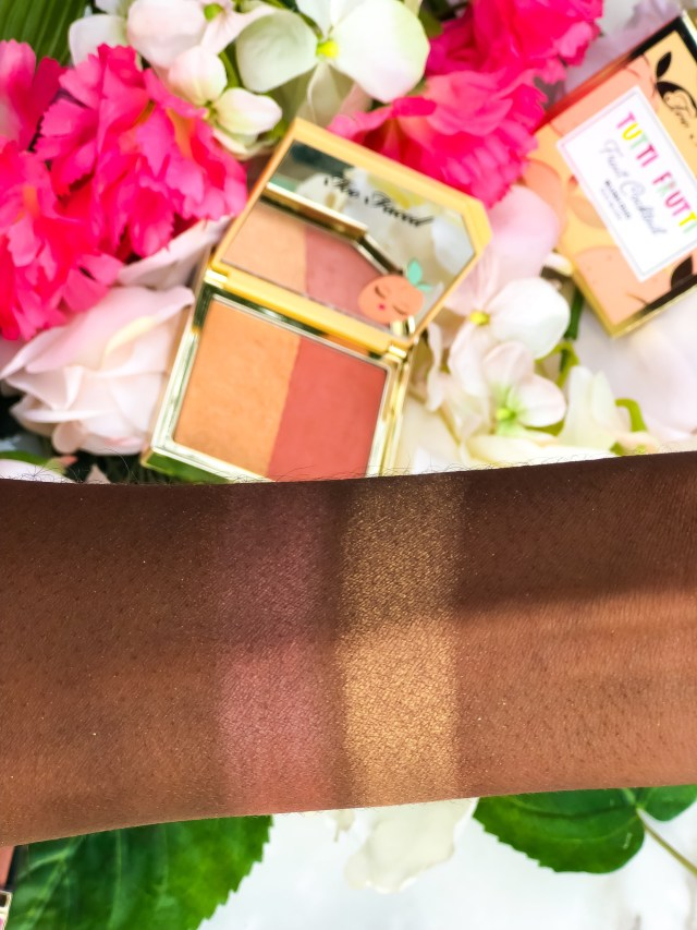 Too Faced Tutti Frutti Collection Apricot Blush Duo Swatches on Dark Skin