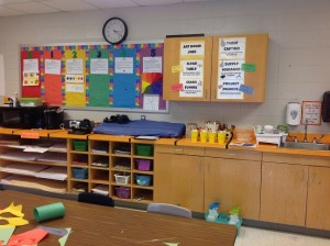 """My rainbow """"I Can"""" statement bulletin board, I have assigned a color to each grade in rainbow order. This bulletin board has also been helpful to point at kids when they forget the rainbow order or how to mix colors."""