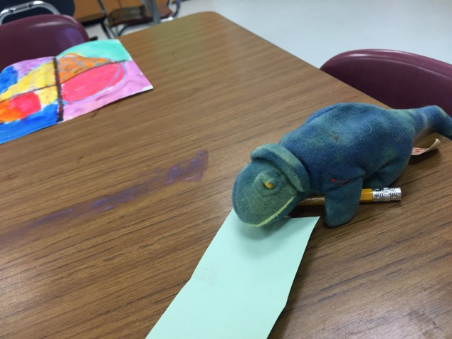 I put this visitor in class to work making his own painting too.