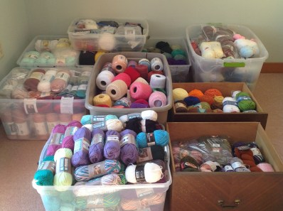 yarn in totes