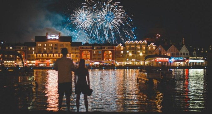 Cute Couple Watching Fireworks on Valentines Day