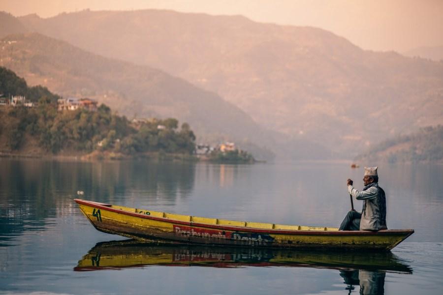 Phewa lake in Pokhara, Nepal.