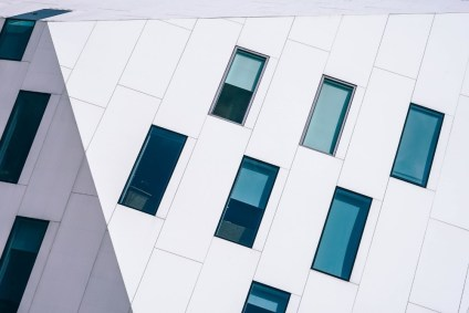 Abstract-Blue-Windows-on-a-White-Building