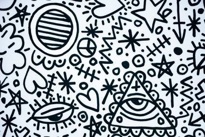 Black-and-White-Doodle-Art-with-an-Illuminati-Symbol