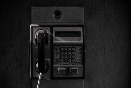 Black-and-White-Photography-of-an-Old-Payphone