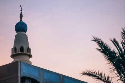 Mosque-and-Palm-Trees-Photographed-at-Sunset