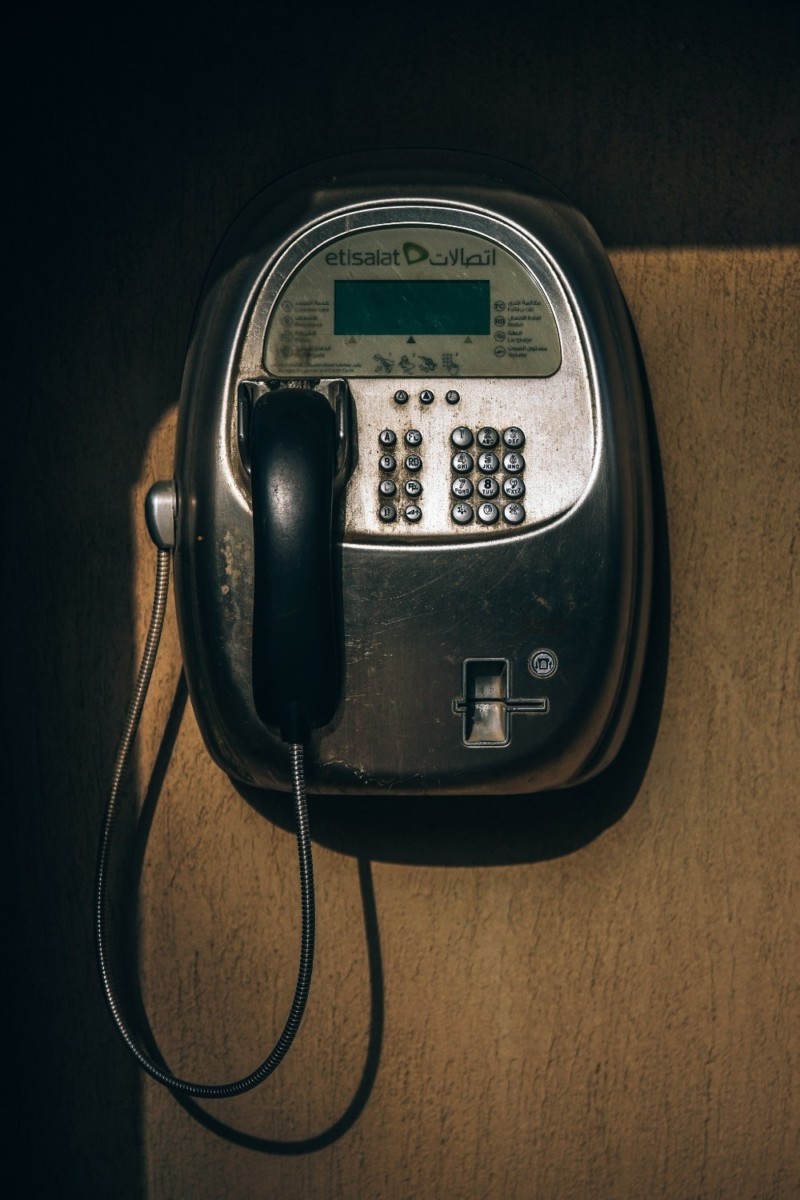 Old-Black-Payphone-attached-on-a-Wall-in-Dubai
