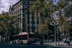 Public-Bus-and-a-Motorbike-on-the-Streets-of-Barcelona