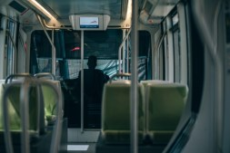 Tram-Driver-in-Dubai-photographed-from-the-inside-of-the-Tram