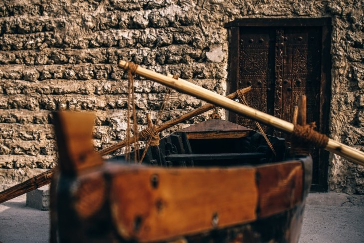 Vintage-Boat-with-Two-Paddles-in-a-Museum-in-Dubai