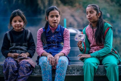 Three-Indian-Teenage-Girls-Looking-Towards-the-Camera