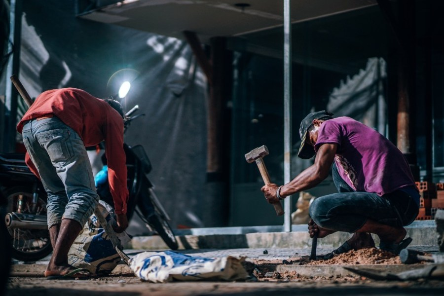 Two-Cambodian-Men-working-on-a-Construction-Site