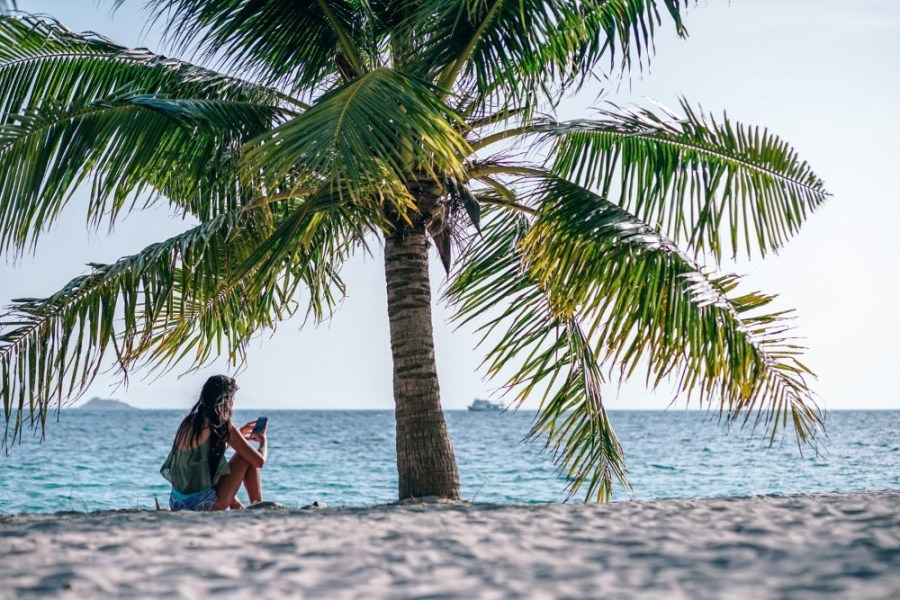 Young-Woman-Using-Her-Cell-Phone-on-the-Beach-below-a-Palm-Tree