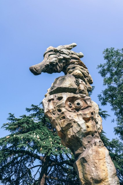 Close-up-Shot-of-a-Stone-Seahorse-Statue