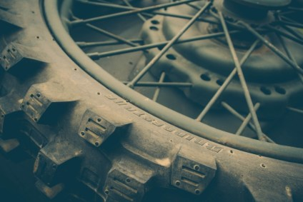 Close-up-Shot-of-a-Vintage-Motorcycle-Wheel