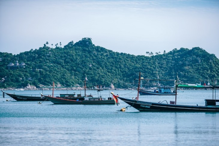 Docked-Longtail-and-Fishing-Boats-in-Thong-Nai-Pan-Yai-Beach