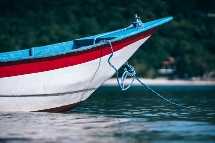Docked-Red-and-Blue-Fishing-Boat