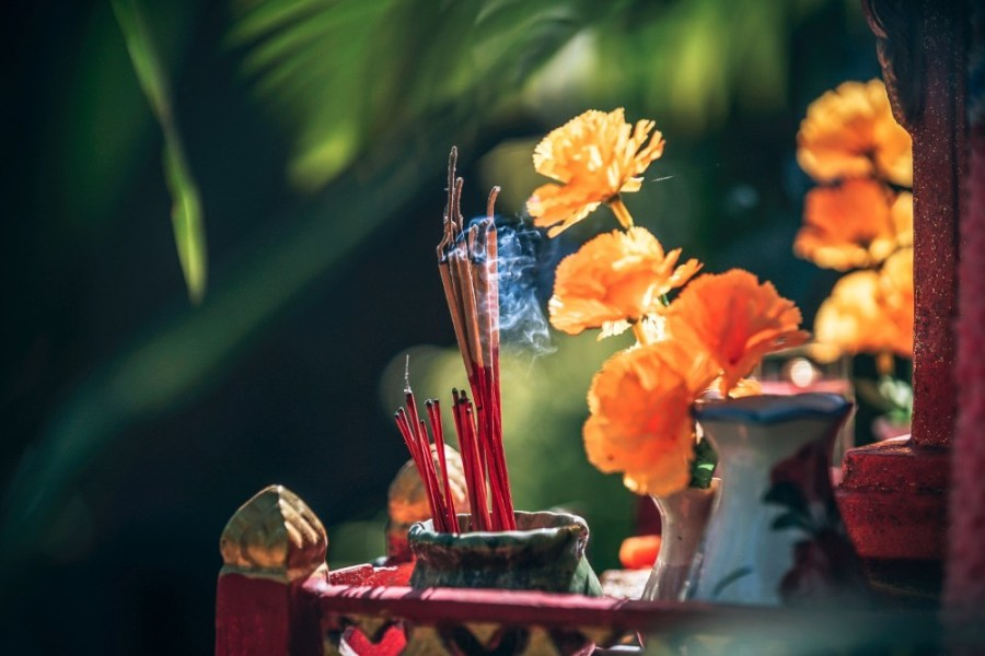 Incense-Sticks-Burning-at-a-Thai-Shrine-in-Morning-Light