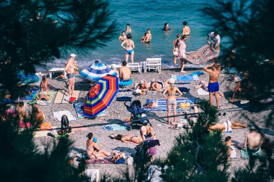 People-Enjoying-the-Sun-at-a-Beach-in-Yalta