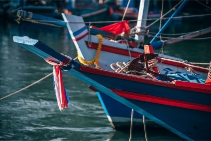 Close-up-Shot-of-Docked-Fishing-Boats