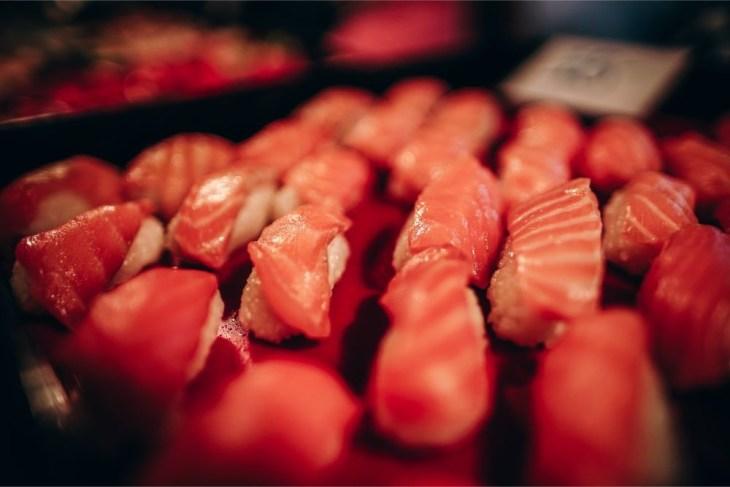 Close-up-Shot-of-Salmon-Sushi