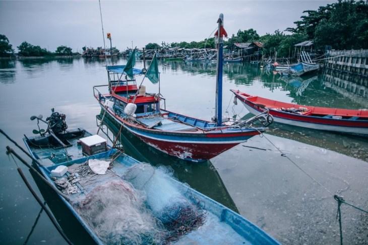 Docked-Fishing-Boats-in-Koh-Phangan-Thailand
